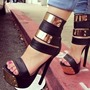 Shoespie Sexy Black Stiletto Heel Open Toe Heel Covering Sandals