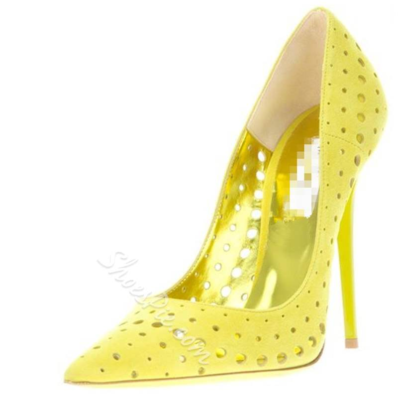 shoespie Yellow High Heel Pointed Toe Pumps