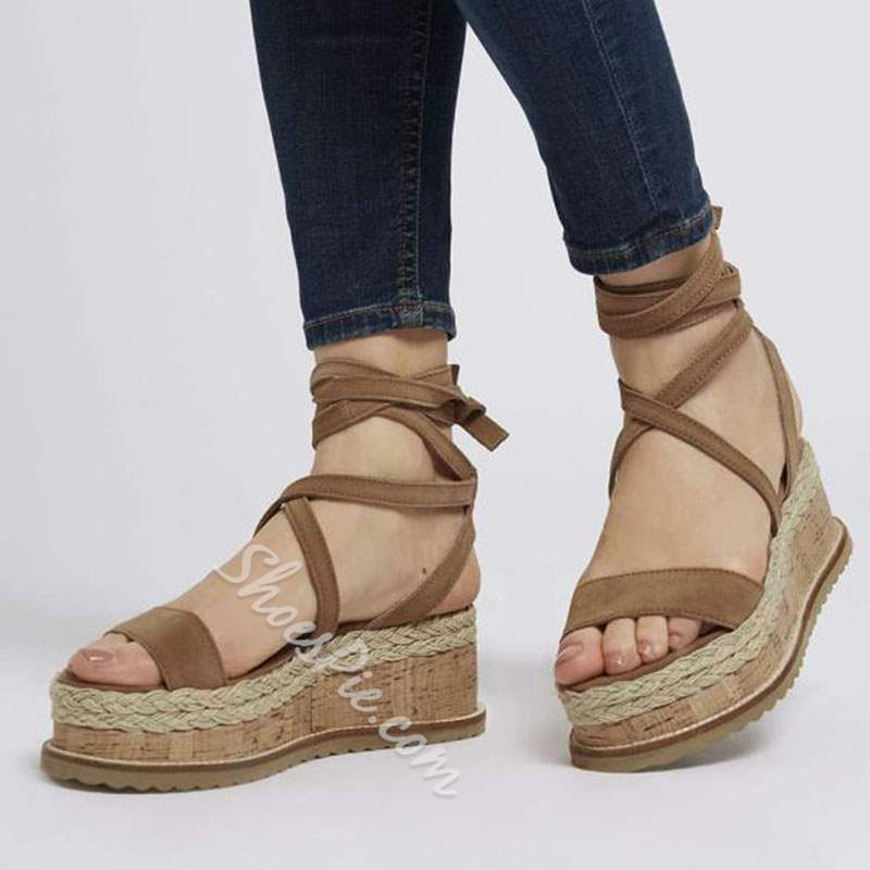 Shoespie Strappy Wedge Heel Woven Sandals