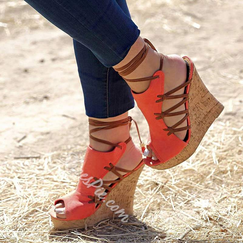 Shoespie Stylish Wedge Heel Lace-Up Peep Toe Color Block Sandals