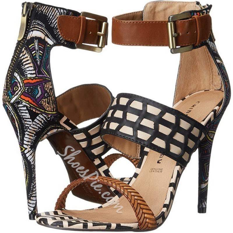 Shoespie Plain Buckle Zipper High Heel Sandals