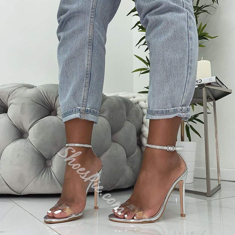 Shoespie Stylish Stiletto Heel Ankle Strap Clear Sandals