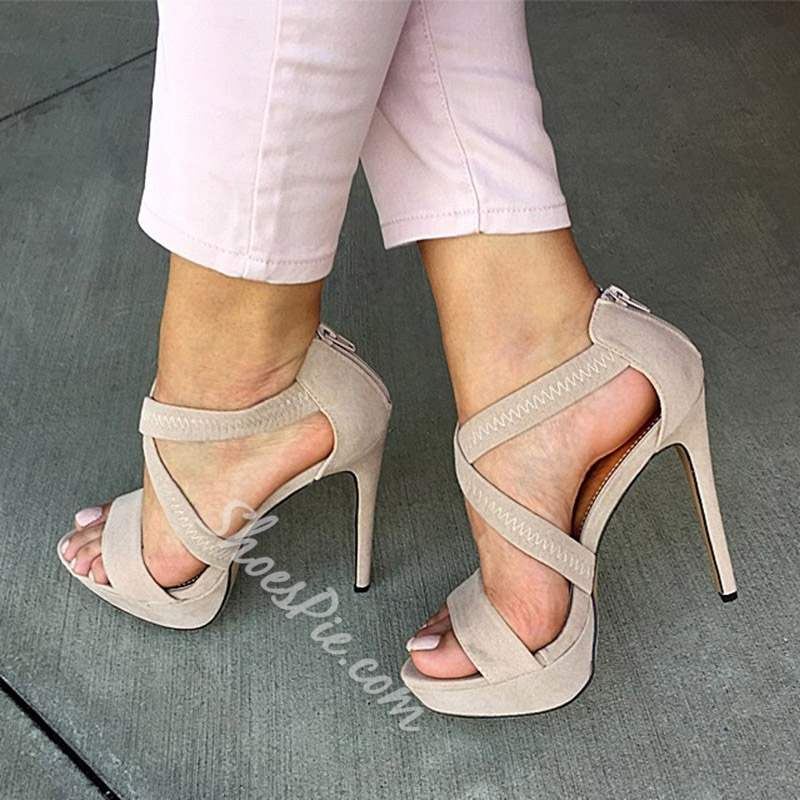 Shoespie Stylish Peep Toe Stiletto Heel Zipper Sandals