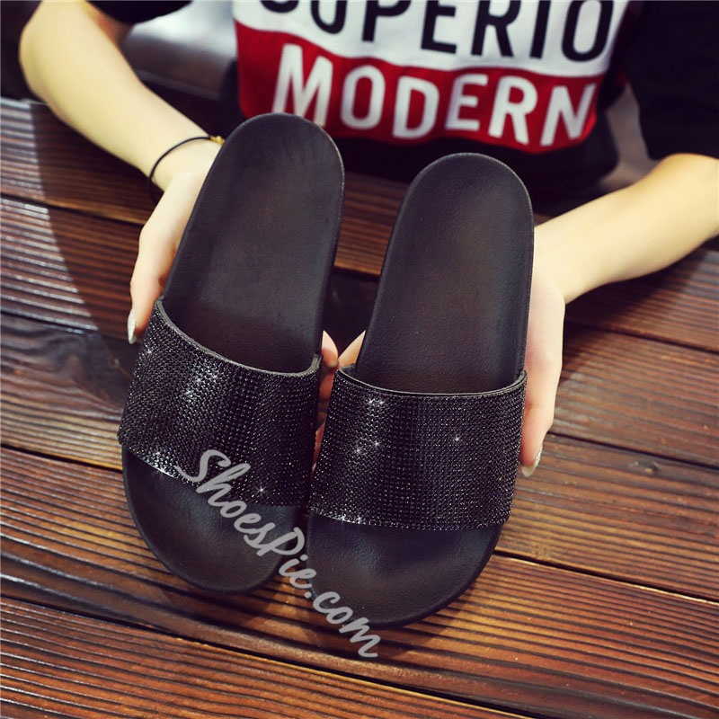 Shoespie Sexy Rhinestone Flip Flop Slip-On PU Slippers