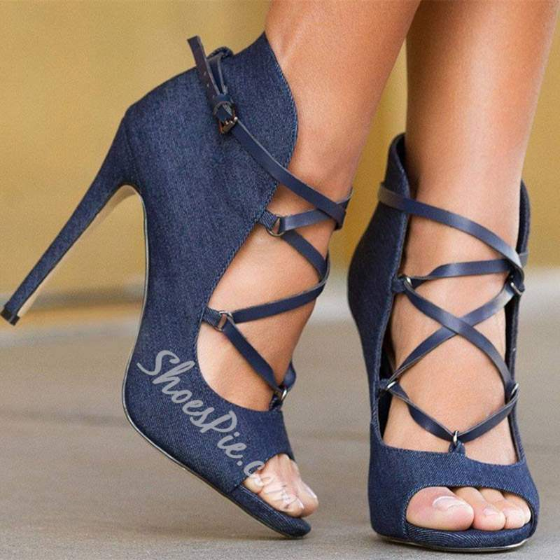 Shoespie Cross Strap Peep Toe Stiletto Heel Buckle Sandals
