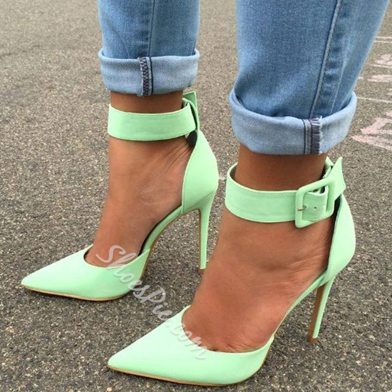 Shoespie Stiletto Heel Pointed Toe Buckle Pumps