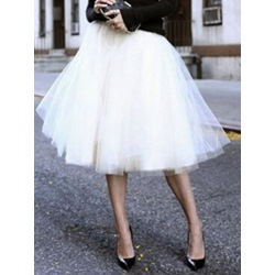 Knee-Length Plain Ball Gown Mid Waist Women's Skirt