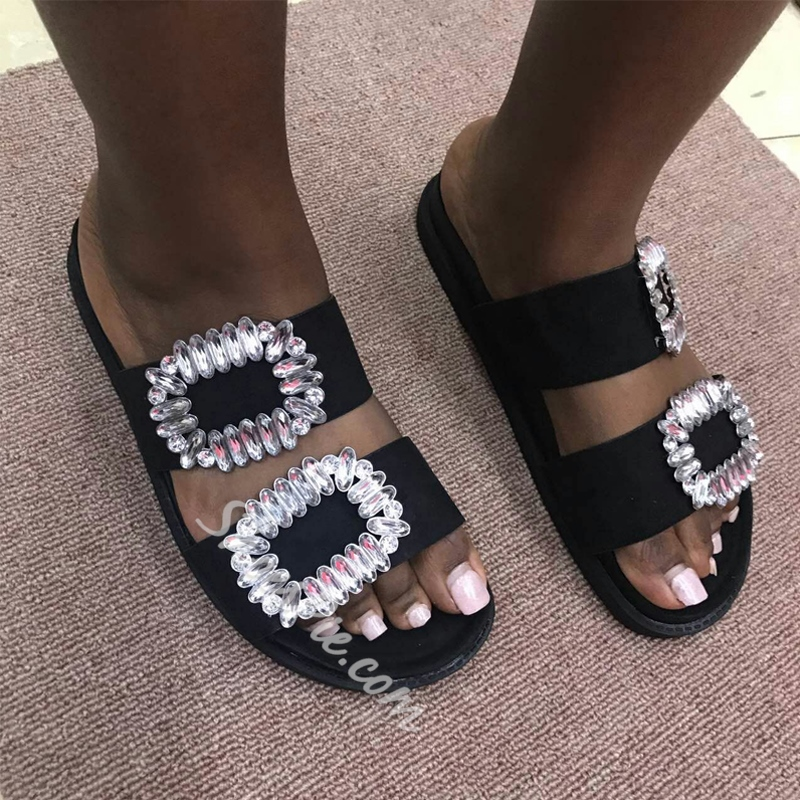Shoespie Black Beaded Flat Casual Slippers