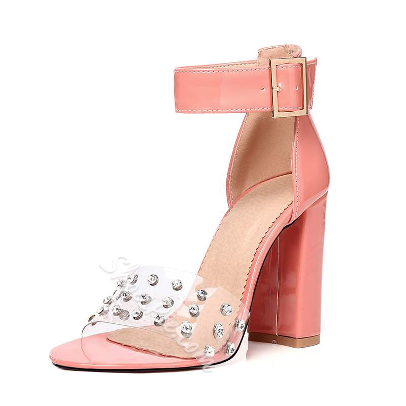 Shoespie Clear Chunky Heel Buckle Rhinestone Sandals