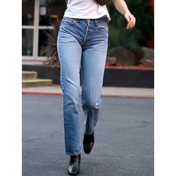 Plain Loose Straight Button Women's Jeans