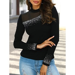 Black Mesh Long Sleeve Stand Collar Slim Women's T-Shirt