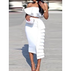 Sleeveless Mid-Calf Falbala High Waist Women's Bodycon Dress