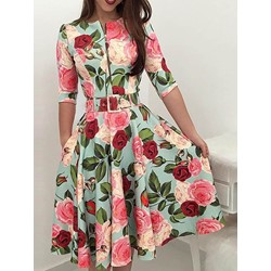 Half Sleeve Print Mid-Calf Pullover Women's Dress