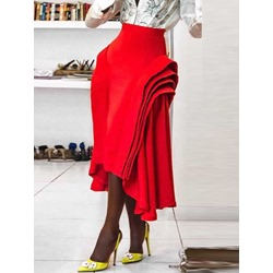 Mid-Calf Asymmetric Asymmetrical High Waist Women's Skirt
