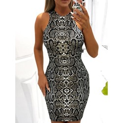 Sleeveless Turtleneck Above Knee Women's Bodycon Dress