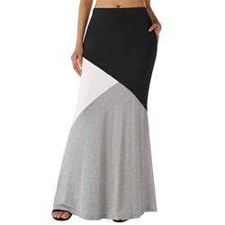 Patchwork Color Block Ankle-Length Casual Women's Skirt