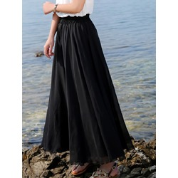 Ankle-Length Expansion Plain High Waist Women's Skirt