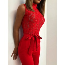 Lace-Up Floral Full Length Slim Lace Women's Jumpsuit