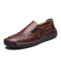 Shoespie Low-Cut Upper Flat Heel Zipper Round Toe Men's Loafers