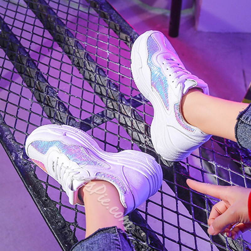 Shoespie Glitter Lace-Up Chunky Sneakers
