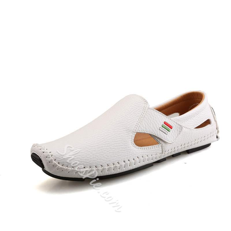 Shoespie Low-Cut Upper Velcro Plain Round Toe Men's Loafers