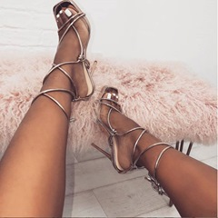 Shoespie Stylish Stiletto Heel Open Toe Lace-Up Sandals