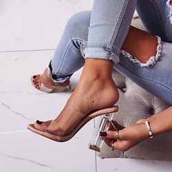 Shoespie Trendy Apricot Slip-On Chunky Heel Mules Shoes