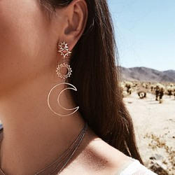 Ethnic Hollow Moon Shape Bohemian Drop Earrings