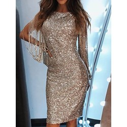 Long Sleeve Fringe Sequins Plain High Waist Women's Bodycon Dress