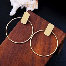 Concise Round E-Plating Alloy Hoop Earrings
