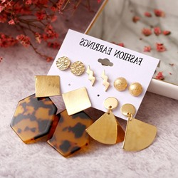 Golden Leopard Pattern Alloy Earrings ( Price for 5 Pair )