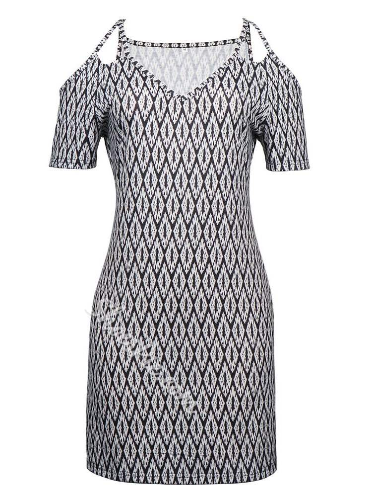 Half Sleeve Above Knee Print Summer Women's Short Day Dress