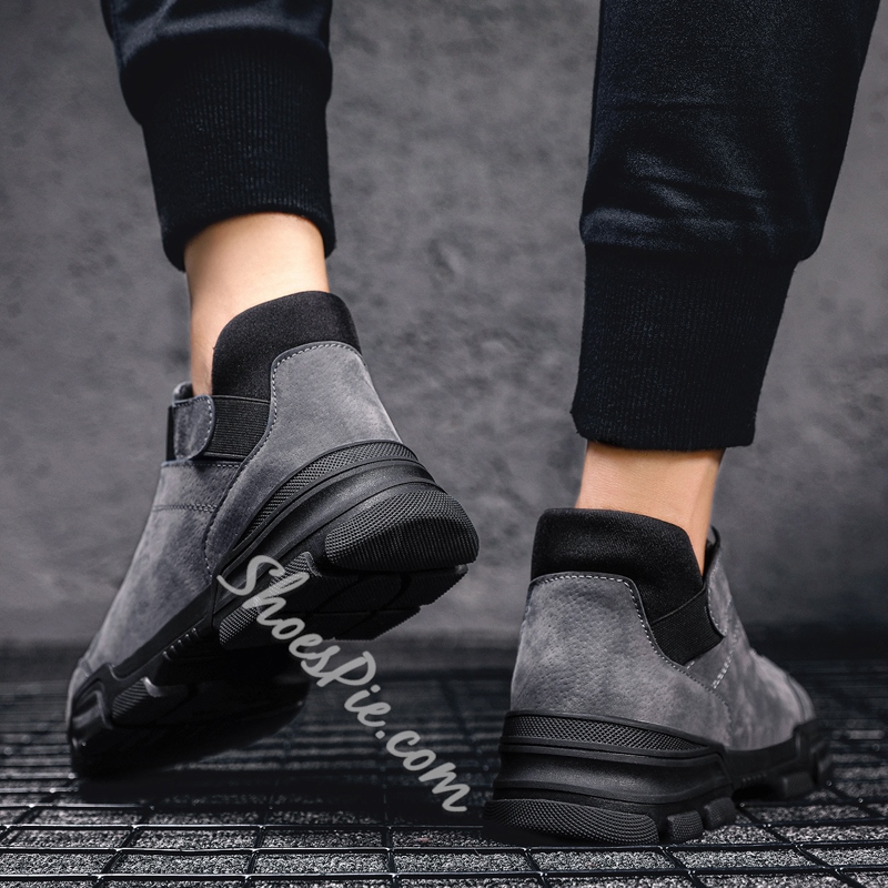 Shoespie Flat Casual Lace-Up PU Boots