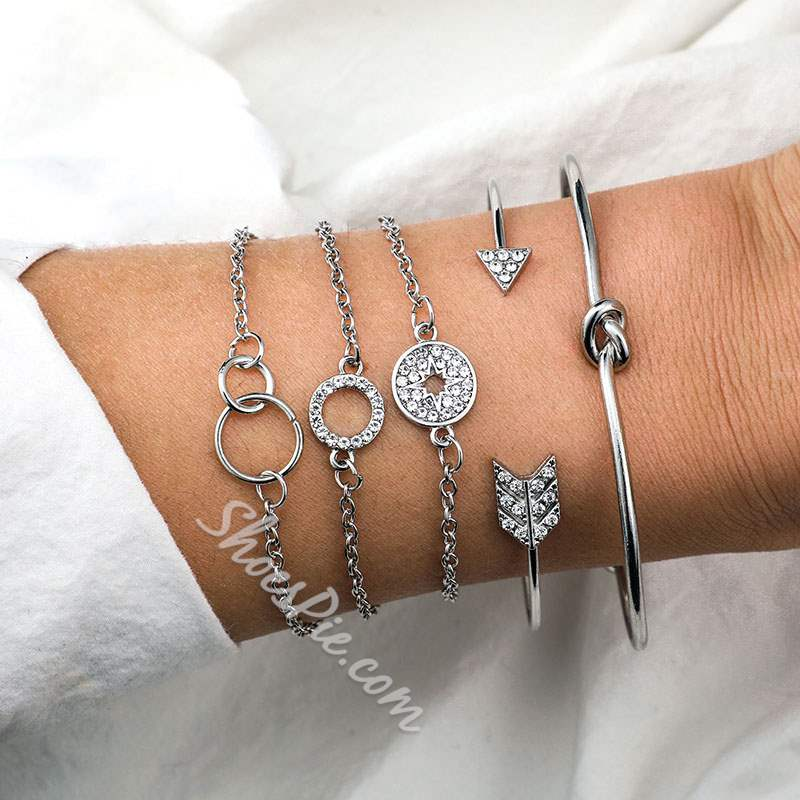 Rhinestone Decorated Bohemian 5 Piece Bracelet Set