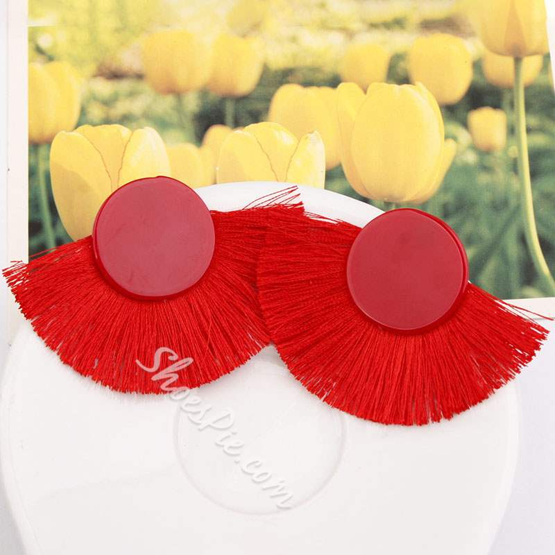 Fan Shape Acrylic Red Tassel Bohemian Earrings