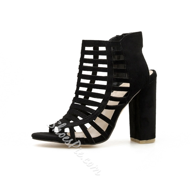 Shoespie Black Chunky Heel Slip-On Open Toe Dress Sandals