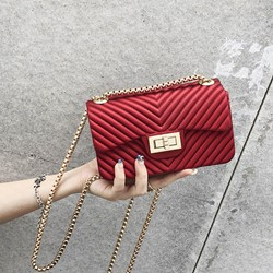 Shoespie Lock PU Plain Rectangle Crossbody Mini Bags