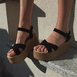 Shoespie Stylish Buckle Wedge Heel Open Toe Platform Sandals
