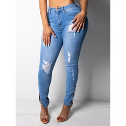 Hole Pencil Pants Plain Women's Jeans