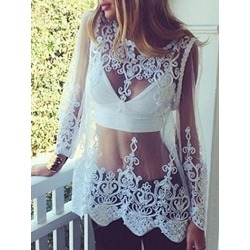 Round Neck Regular Embroidery Mid-Length Women's Blouse