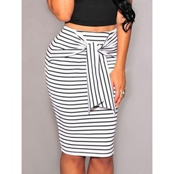 Lace-Up Knee-Length Bodycon Casual Women's Skirt