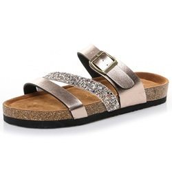 Shoespie Sequin Buckle Casual Backless Slippers