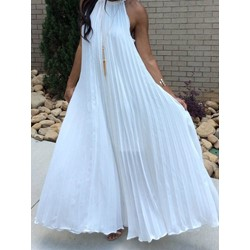 Ankle-Length Pleated Sleeveless Pullover Women's Maxi Dress