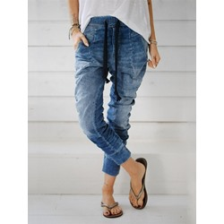 Plain Harem Pants Pleated Slim Women's Jeans