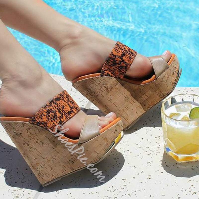 Shoespie Trendy Orange Wedge Heel Slip-On Serpentine Slippers
