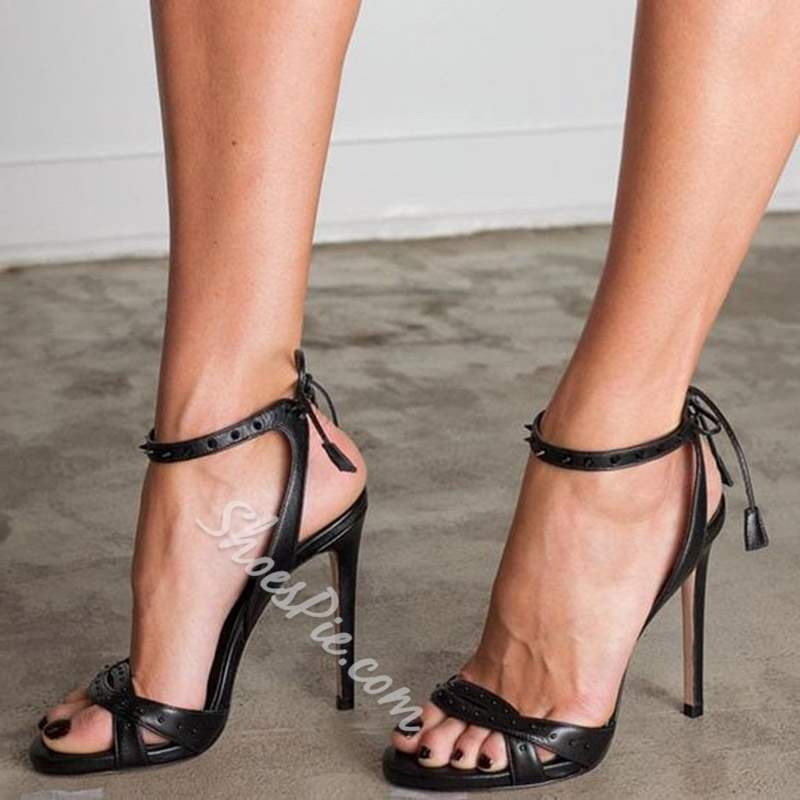 Shoespie Trendy Open Toe Lace-Up Stiletto Heel Sandals