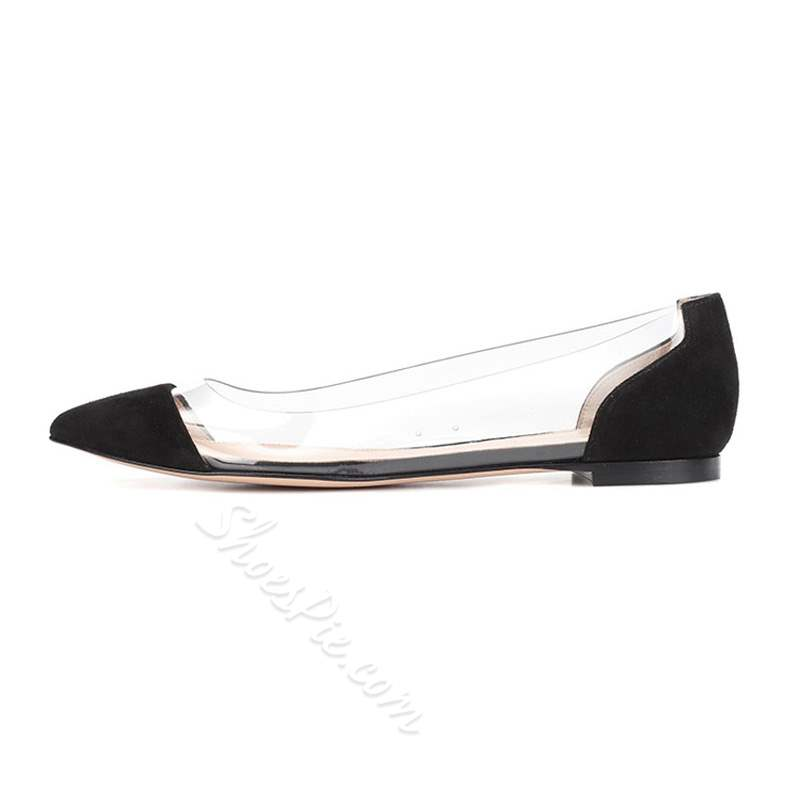 Shoespie Stylish Block Heel Pointed Toe Sequin Patchwork Flats