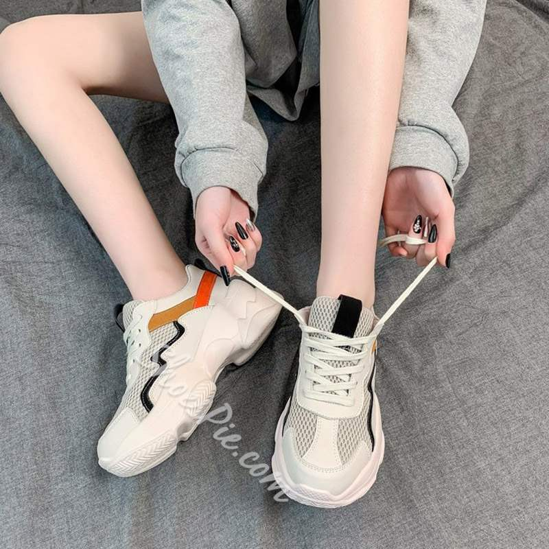 Shoespie Casual Lace-Up Chunky Sneakers