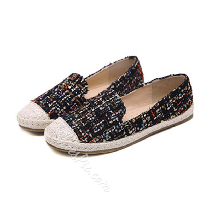 Shoespie Trendy Woven Slip-On Round Toe Flat Loafers