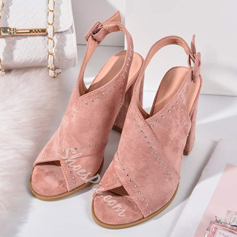 Shoespie Stylish Buckle Slingback Strap Chunky Heel Sandals